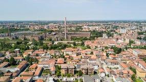 鸟瞰图Snia工厂在瓦雷多,蒙扎Brianza, Lombardia意大利 免版税库存图片