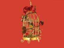 鸟笼圣诞节装饰品 库存图片