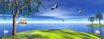 鸟笼解救鹦鹉 免版税图库摄影