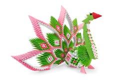 鸟绿色origami粉红色 库存图片