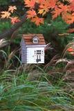 鸟舍外面在垂悬在树的秋天 免版税库存照片