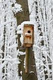 鸟舍,保护免受鸟的冷和恶劣天气 库存图片