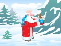 鸟蓝色圣诞老人 库存图片