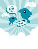 鸟蓝色电子邮件 库存图片