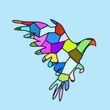 鸟蓝色颜色马赛克 免版税库存照片