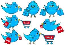 鸟蓝色购物向量 免版税图库摄影