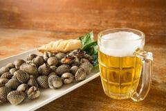 鸟蛤被烧的和冰镇啤酒 免版税库存照片