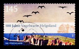 鸟观测所Helgoland,百年Helgoland鸟类学学院serie,大约2010年 库存图片