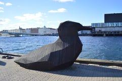 鸟雕塑在哥本哈根 图库摄影