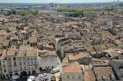 鸟` s注视法国城市红葡萄酒的看法 免版税库存照片