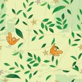 鸟eps叶子模式无缝的气味 免版税库存照片