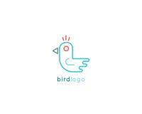 鸟minimalistic商标设计 免版税库存照片