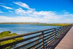 鸟Sancuary桥梁在亨廷顿海滩 库存图片