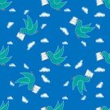 鸠运载的信封样式重复无缝在任何设计的蓝色颜色 鸟提供一则消息 岗位鸽子 皇族释放例证