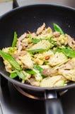 鸡和菜混乱油炸物 库存照片
