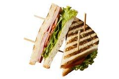 鸡、牛肉或者乳酪汉堡 免版税库存图片