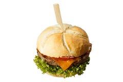 鸡、牛肉或者乳酪汉堡 免版税库存照片