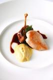鸡、鸭子和芥末五颜六色的盘  免版税库存照片