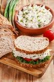 鸡丁沙拉三明治蕃茄沙拉Ð ¾ n书桌 库存图片