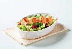 鸡串和沙拉混合 免版税库存图片