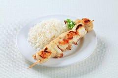 鸡串用米 免版税图库摄影