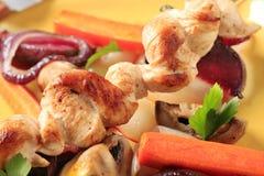 鸡串蔬菜 库存照片