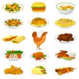 鸡传染媒介动画片小鸡字符母鸡和食物鸡翼用油煎的土豆和烤肉肉晚餐的 皇族释放例证
