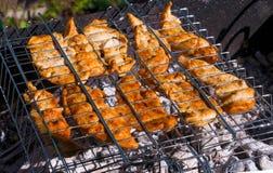 鸡内圆角在格栅格栅油煎了在一个晴朗的夏日 饮食 与多余重量的战斗 库存图片