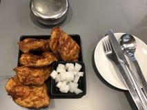 鸡午餐膳食油煎晚餐 免版税库存照片