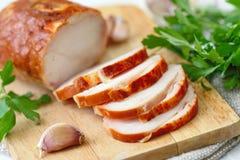 鸡卷烘烤用香料和大蒜 库存图片
