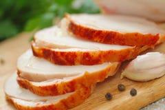 鸡卷烘烤用香料和大蒜 图库摄影
