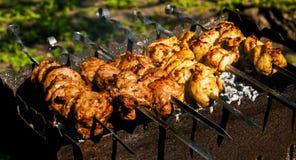 鸡和小牛肉在格栅的kebabs烤肉 免版税库存照片
