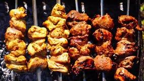 鸡和小牛肉在格栅的kebabs烤肉 股票视频
