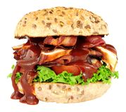 鸡和烟肉三明治卷 免版税库存图片