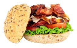 鸡和烟肉三明治卷 库存图片