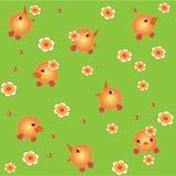 鸡和花 免版税库存照片