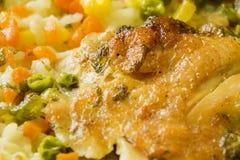 鸡和菜前面宏指令 免版税库存照片