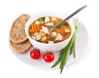 鸡和蔬菜汤 免版税图库摄影