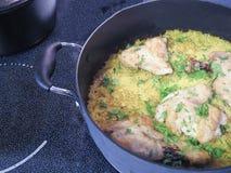 鸡和被烘烤的米 免版税图库摄影