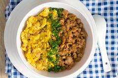 鸡和鸡蛋用调味汁在米 免版税库存图片