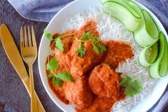 鸡咖喱印地安人膳食 免版税库存图片