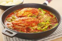 鸡在生铁长柄浅锅的辣椒粉炖煮的食物 库存照片