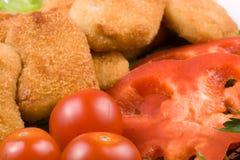 鸡块蔬菜 免版税库存图片