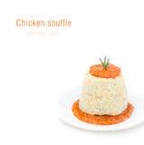 鸡奶油甜点用南瓜,绿色和红辣椒调味汁 免版税库存照片