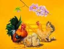 鸡家庭 图库摄影