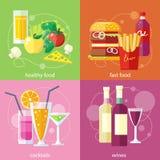 鸡尾酒、健康食品、快餐和藤 向量例证