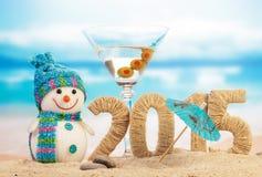 鸡尾酒、雪人和新年标志 库存照片