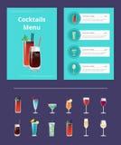 鸡尾酒与血玛莉酒和威士忌酒的菜单海报 向量例证