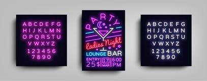 鸡尾酒会海报氖 飞行物在霓虹样式的模板设计 夫人夜鸡尾酒会舞蹈邀请,光 库存例证