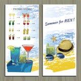 鸡尾酒会的,被设置的装饰象集合手拉的小册子 免版税库存图片